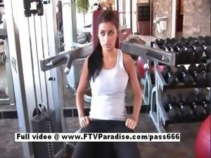 Delightful Busty brunette flashing tits in the gym