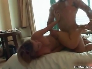 Sexy blonde babe goes crazy getting her