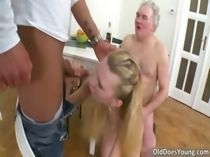 Dirty slender blonde slut getting pussy part6