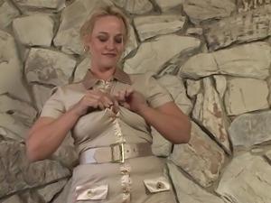 blonde slut enjoys sucking dildo