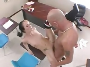 sexy bony student fucks on a chair
