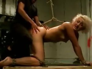 Slave fucked with hook in her ass
