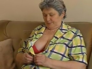 old fat granny masturbating on couch