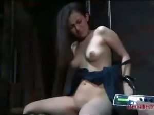 brunettes slave girl is fucked by dildo to orgasm
