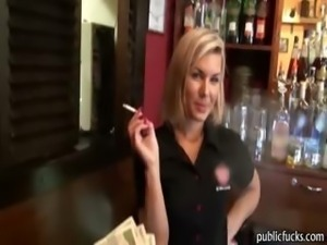 Gorgeous blonde barmaid paid and gets banged in the bar