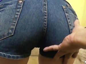 her perfect ass in short jeans