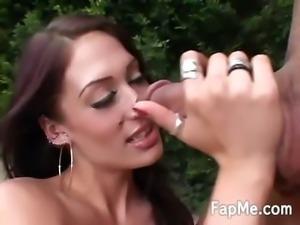 Hot slut loves jerking a huge cock