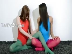 Hairy lesbians in nylon lingerie loving