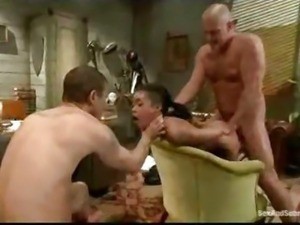Tied up babe gangbang fucked in the office