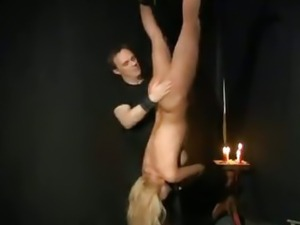 Blonde slave tied and fucked by her master