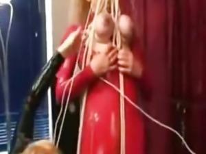 Latexbitch Is Hanging On Her Tits bdsm bondage slave femdom domination