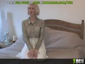 Sexy Blonde Granny Masturbates With Sex Toys In White Lingerie free