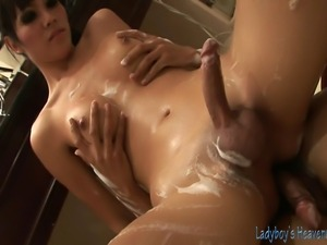 Soapy shemale massage action, this time with the beautiful ladyboy Barbie...