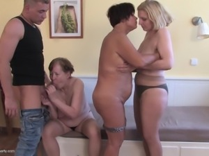 mature lesbians and a hard cock at their sex party