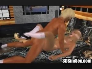 3D couple fucks redhead