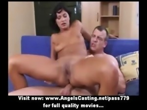 Awesome brunette babe fucked hard from behind in extreme positions