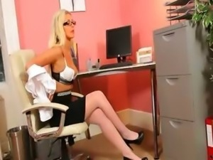 Secretary in sexy panties teasing alone