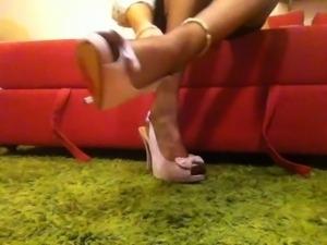 Full fashion stockings, slingback heels, skinny crossdresser
