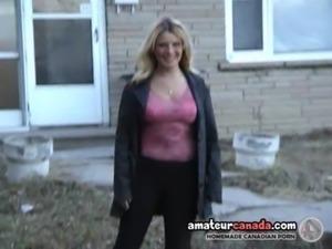 Flashing big tits in the backyard free