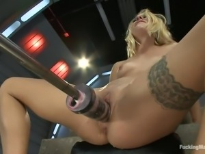 sexy blonde join sex machine