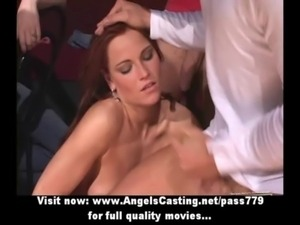 Teen party outdoors with hot babes getting cumshot on their faces free
