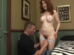 Redhead housewife with hairy pussy and big tits