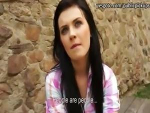 Pretty amateur brunette Czech slut Timea analed for cash