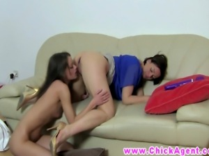 Female casting agent gets pussy licked by gorgeous brunette