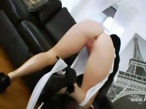 Two monster black cock in her butthole