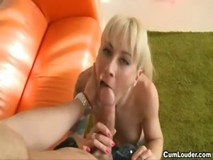 Nasty blonde babe loves to swallow cum