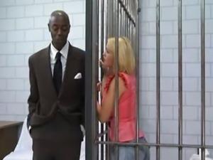 Blonde In Jail Fucks A Black Cock