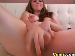 Dirty talking brunette girl toying pussy