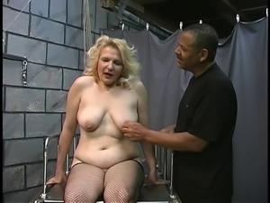 Mature BBW blonde gets tortured in dungeon by two old men