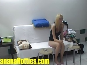Shy czech blonde at the first casting