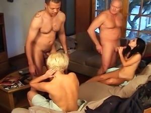 Amateur foursome with two sluts