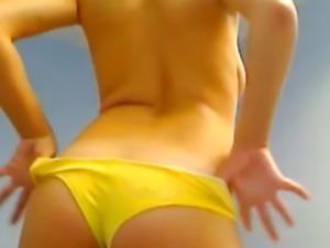 Czech Blonde Teen Strips and Rubs her Clit