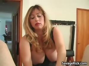 Sexy blonde mistress gets this man bound