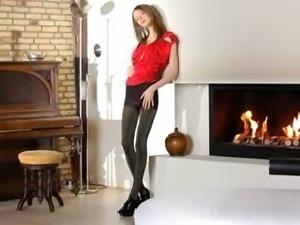 Ultra beautiful skinny girl teasing