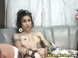 Sexy Tranny in Bikini Cummed