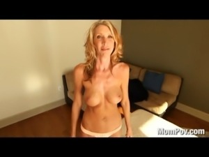 Horny MILF fucks and swallows cum free