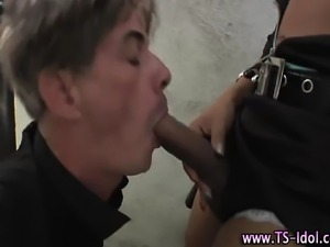 Horny shemale amateur glam babe gets sucked off by fetish guy