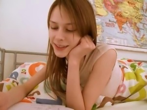 Teen babysitter doing pussy homework
