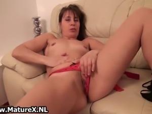 Hot brunette milf stripping touching