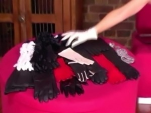 Dom mistress in gloves pulls on her subs cock free