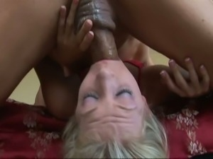 Blonde gets mouth fucked