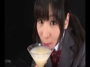 Sweet Asian Schoolgirl drinks glass of cum - Extreme Gokkun free