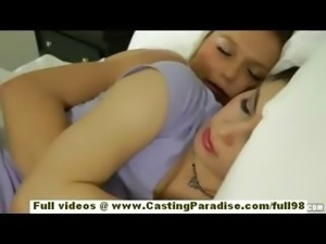 Natalia Rogue and Aiden Ashley blonde and brunette lesbian babes sleeping and...
