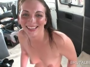 Teen hottie fucked hardcore in the bus gets a facial