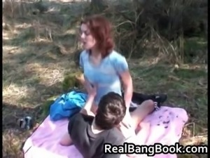 Anorexic redhead gets outdoor facial