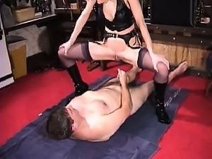 Sexy blonde mature dominatrix bizarre golden shower for her slave